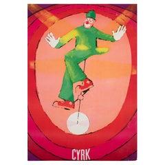 Polish, Cyrk, Circus Poster, 1971, Vintage, Unicycle Clown, Jacek Neugebauer