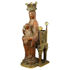 Virgin with Child Enthroned, Boxwood, Bronze and Carved Rock Crystal, 19th C