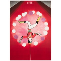 Polish, Cyrk, Circus Poster, 1968, Vintage, Balancing Acrobat, Urbaniec