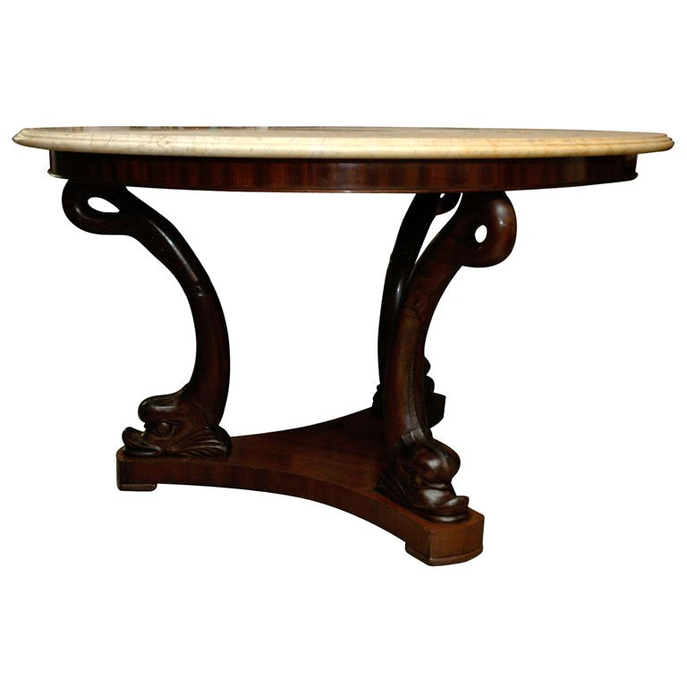 19th Century Dolphin Base Center Table