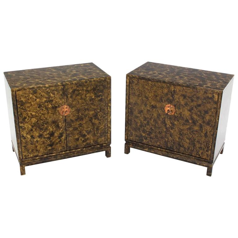 Pair of Asian Style Art Decorated Double-Door Bachelor's Chest Dressers