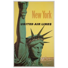 United Air Lines 1960s New York Travel Poster, Galli, Linen Backed