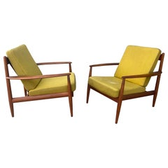 Pair Lounge Chairs by Grete Jalk for France & Son, 1960s, Early Label