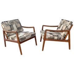 Pair Danish Modern Teak Armchairs by Ole Wanscher for France & Son