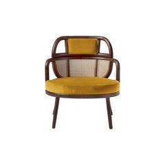 Organic Modern Armchair Havana in Solid Walnut and Soft Dijon Cotton Velvet