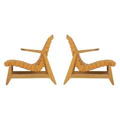 Pair of Rare Historical Original Ralph Rapson Greenbelt Lounge Chairs 1945