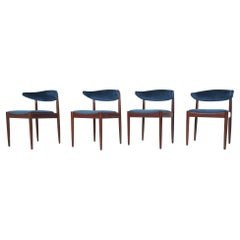 Set of Four Rosewood and Velvet Dining Chairs by Topform, the Netherlands 1950's