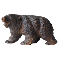 Japanese Old Wood Carving Bear 1930s-1950s/Vintage Figurine Sculpture Folk Art