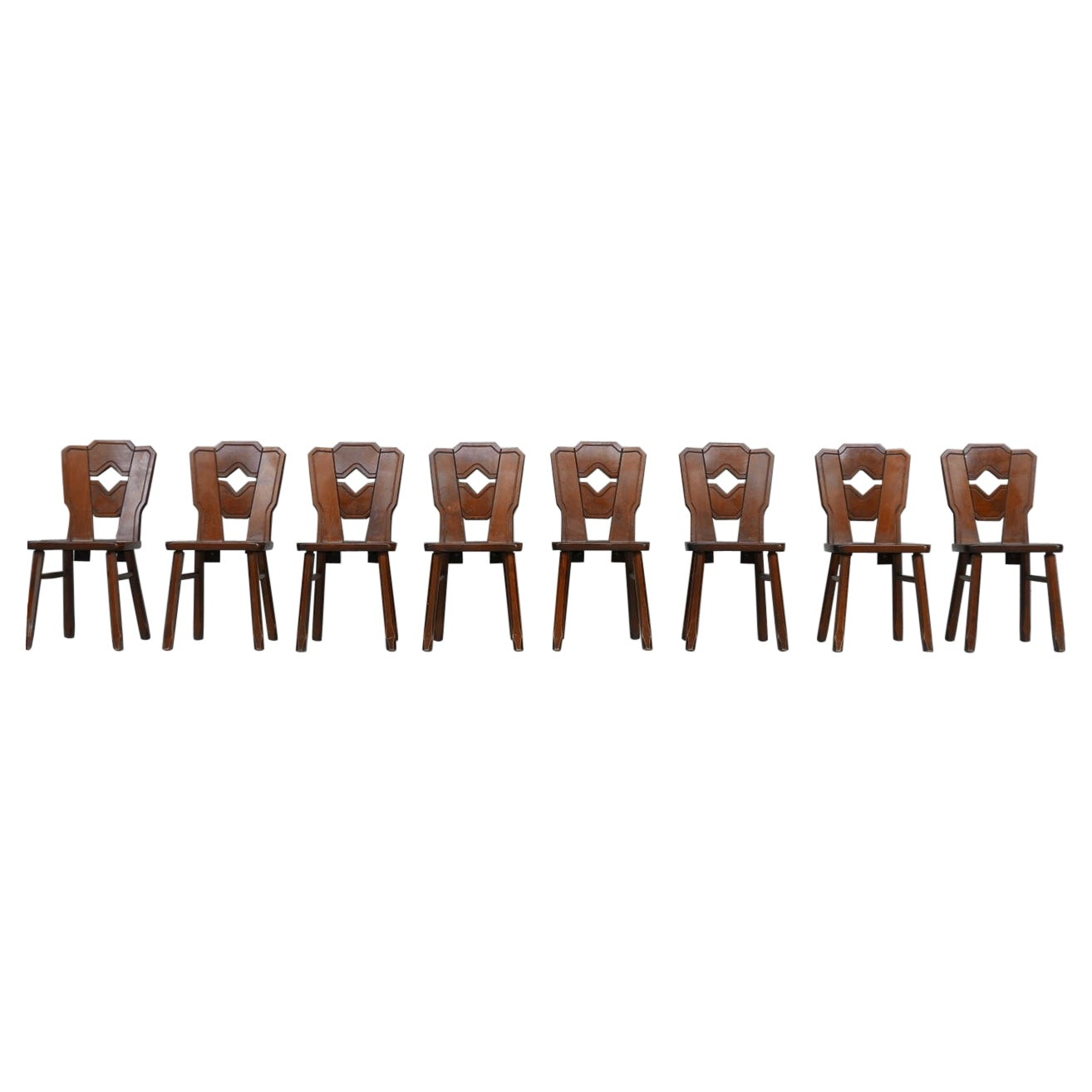 Set of 8 Wooden Dutch Mid-Century Dining Chairs