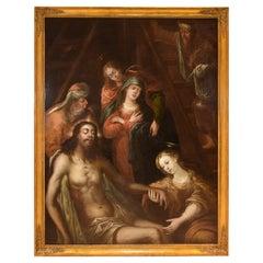 Entombent or Lamentation of Christ, Oil on Canvas, Flemish School, 17th Century