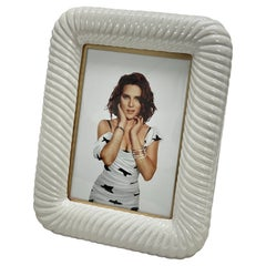 Tommaso Barbi Midcentury White Ceramic and Brass Italian Picture Frame, 1970s
