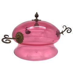 Antique Biedermeier Ruby Glass Brass Ceiling Light for Candles