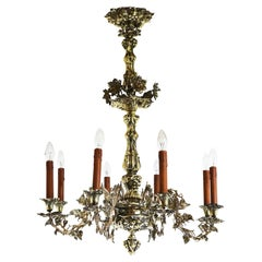 French Art Nouveau Hammered Brass Chandelier 1890 Antique 8 Lights Gold Floral