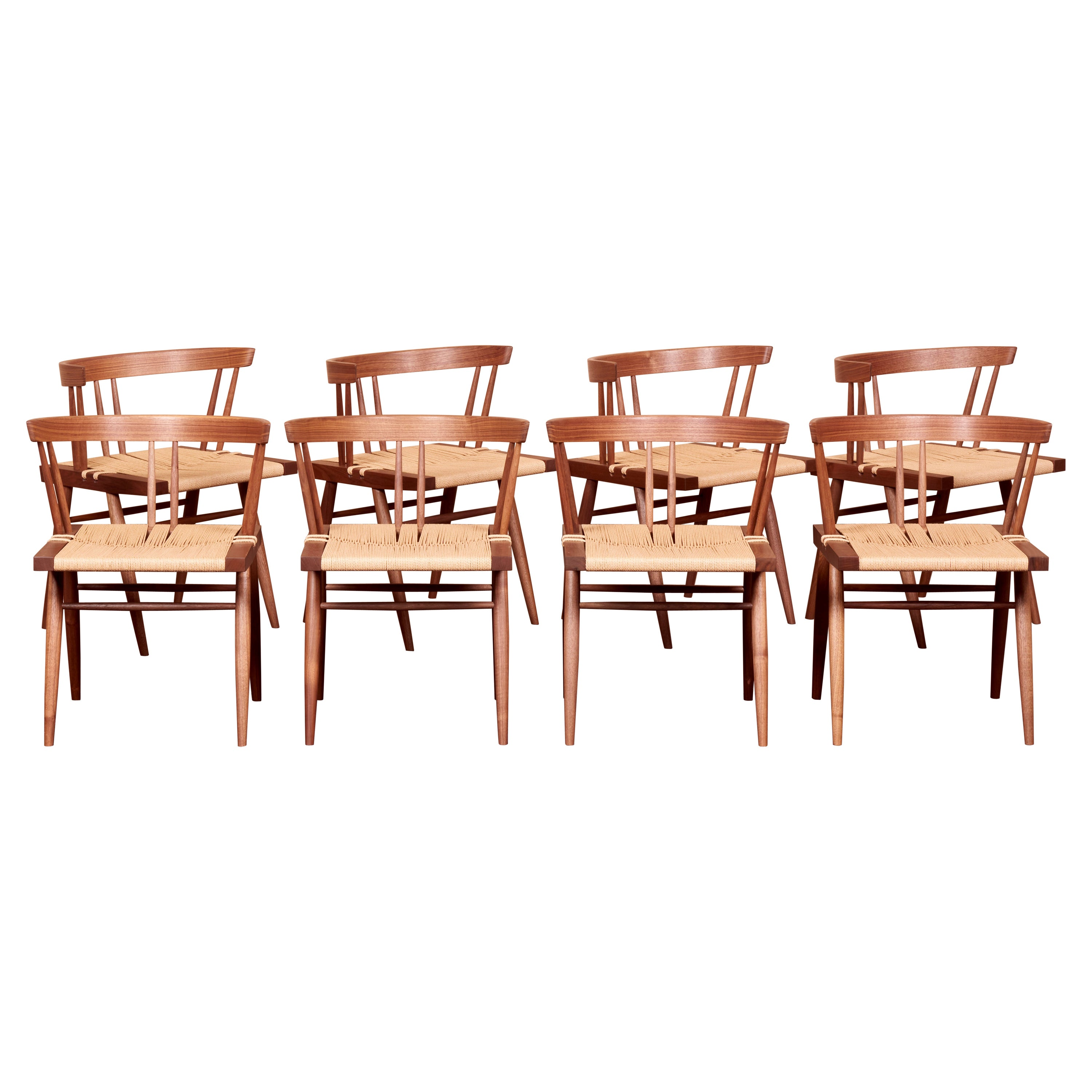 Set of 8 Grass Seated Dining Chairs by George Nakashima Studio, US, 2021