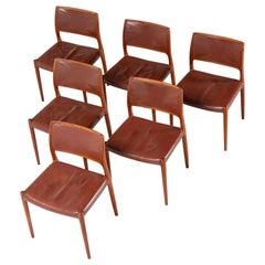 Niels Moller Model 80 teak chairs 6x Denmark 1966