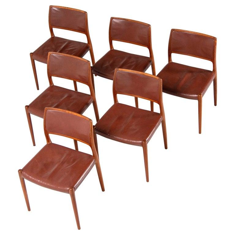 Niels Moller Model 80 teak chairs 6x Denmark 1966 For Sale