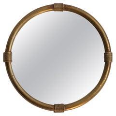Italian Designer, Wall Mirror, Brass, Mirror Glass, Italy, 1940s
