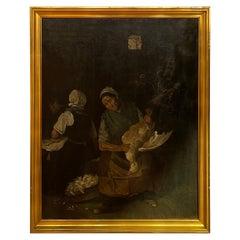 """Antique Oil Painting """"Gänserupferinnen"""" by Max Liebermann"""