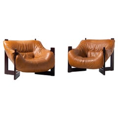 Percival Lafer Lounge Chairs in Mahogany & Leather Brazil, 1970