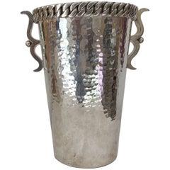 Art Deco St Bronze Hammered Silver Plated Wine Bottle Bucket by Jean Despres