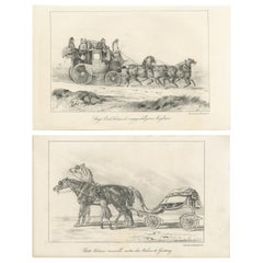 Set of 2 Antique Prints of Horse and Carriage by Lemercier 'c.1835'