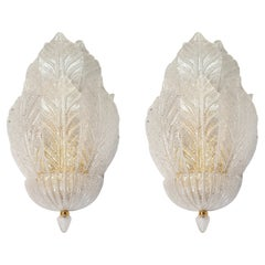 Large Mid Century Translucent Leaf Murano Glass Sconces Barovier Style Italy 70s