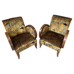 French Art Deco Reupholstered Pair of Armchairs, 1930s