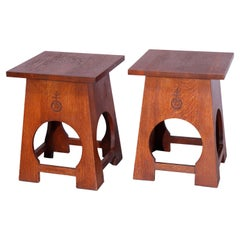 Pair of Arts & Crafts Mission Oak Tabouret Stands, Roycroft by Stickley, 20th C