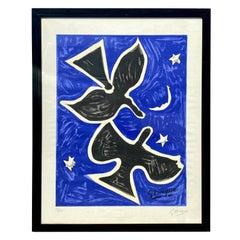 """1961 Georges Braque """"Deux Oiseaux"""" Original Color Lithograph"""