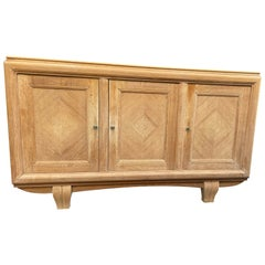Quality 1940s Natural Oak Three Door Sideboard by Gaston Poisson