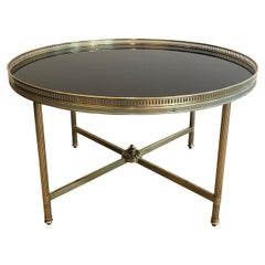 Maison Jansen, Neoclassical Style Brass Coffee Table with Black lacquered Glass