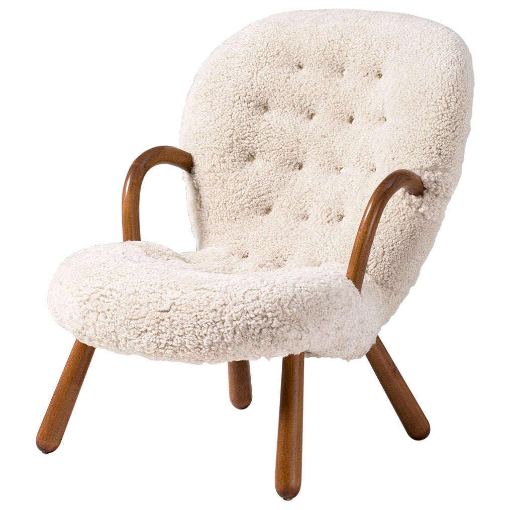 Arnold Madsen Sheepskin Clam Chair, 1950s