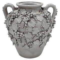 Monumental & Elaborately Decorated Italian Glazed White Terracotta Urn