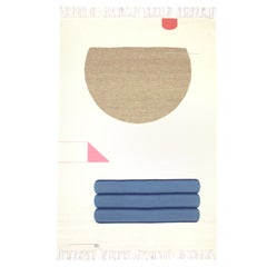 Contemporary Handwoven, Wool Rug / Kilim, Natural Dye, Blue, Pink, Beige