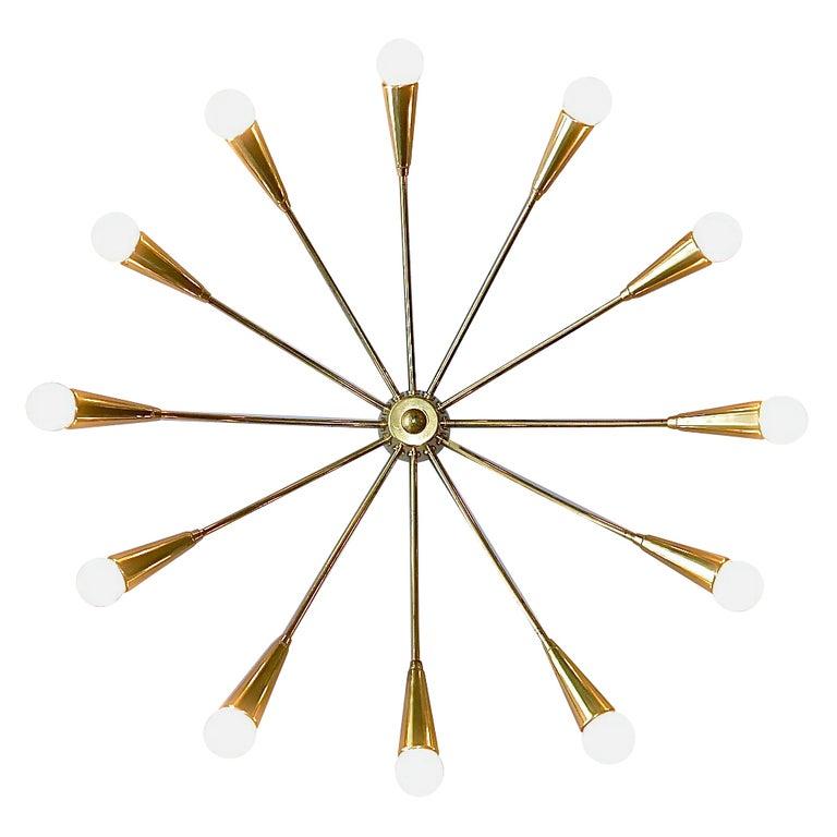 Large Midcentury Sputnik Flush Mount Brass Ceiling Lamp Kaiser Kalmar Stilnovo For Sale