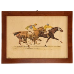 Watercolor Finished Print Depicting Running Horses, USA, 1900