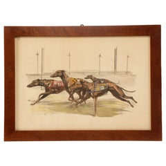 Watercolor Finished Print Depicting Greyhound Dogs Running, USA, 1900