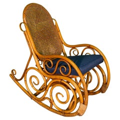 Vintage Bentwood Rattan and Cane Rocking Chair in the Manner of Thonet