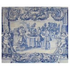 "18th Century Portuguese "" Azulejos "" Panel ""Countryside Scene"""