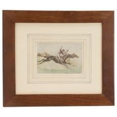 Watercolor Finished Print Depicting Galloping Horses with Jockeys, USA 1900
