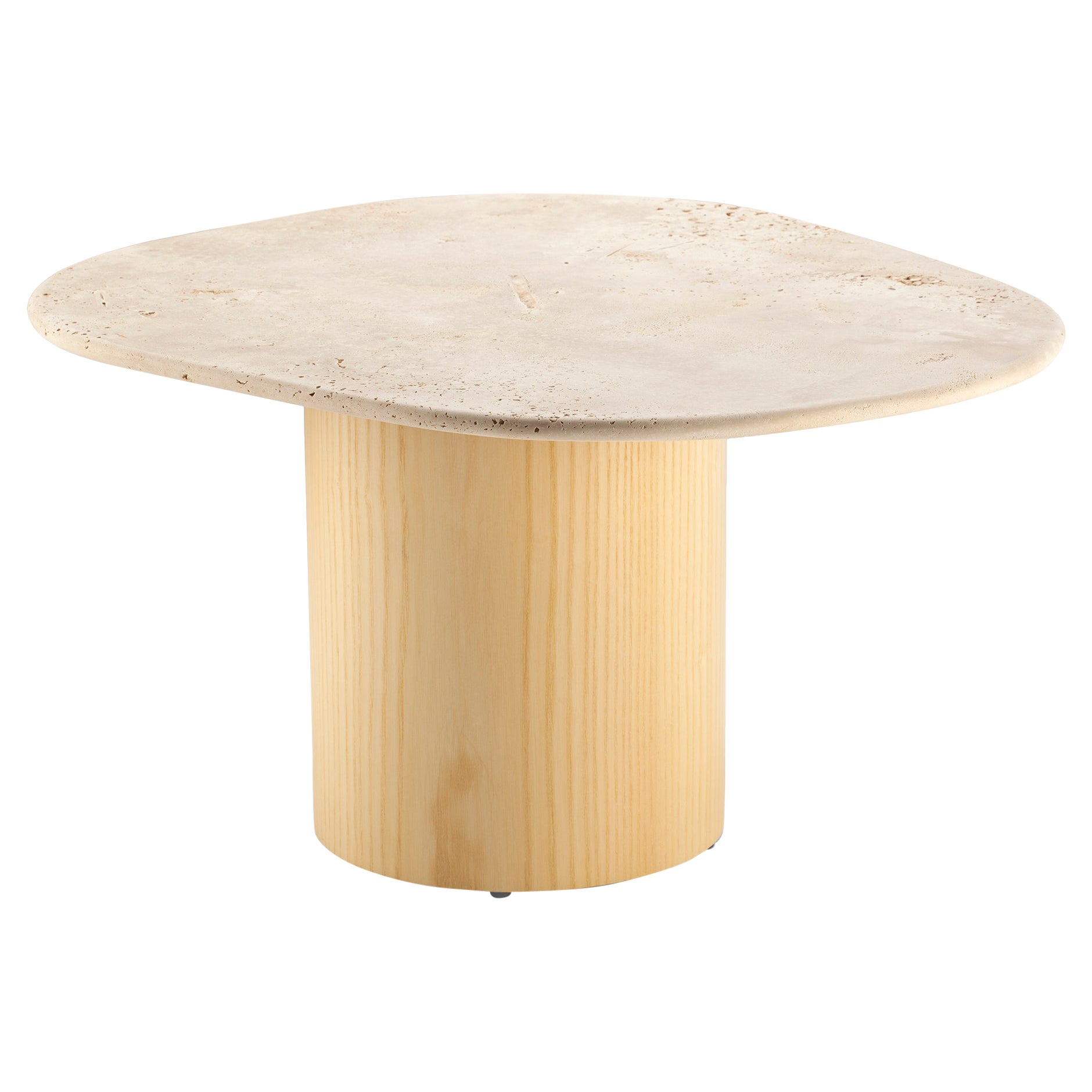 Organic Modern Travertine and Natural Ash Portuguese Side Table L'anamour