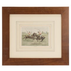 Watercolor Finished Print Depicting Polo Players, USA, 1900