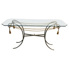 Gun Metal Console Table with Gilt Metal Garlands and Pompons and A Glass Twitop