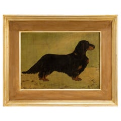 Painting Oil on Wood Depicting a Dachshund Dog, England, 1920
