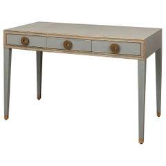 Art Deco Leather Desk, Light Grey