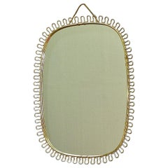 Midcentury Wall Mirror by Josef Frank Svenskt Tenn, Austria, Sweden Brass, 1950s