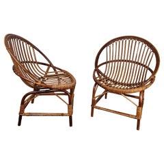 Pair of 60s Italian Bent Bamboo Rattan Bohemian French Riviera Lounge Armchairs