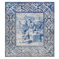 """18th Century Portuguese """"Azulejos"""" Panel """"Sculpture"""""""