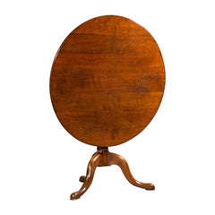 Antique Tilt Top Side Table, England, Oak, Occasional, Lamp, Georgian, C.1760