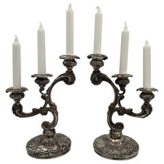 Leuchars English 1889 Pair of 3-Light Sterling Silver Candelabra in Rococo Style